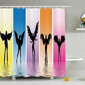 Shower Curtain Angel Models Silhouette Print